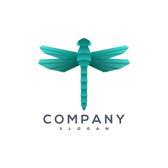 Dragonfly origami style logo