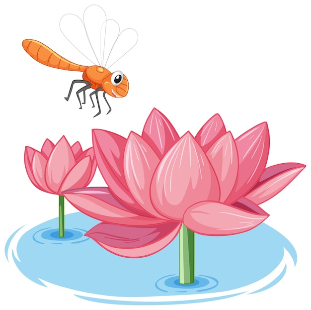 白い背景の上のピンクの蓮の漫画スタイルのトンボ