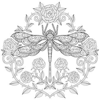 バラのハートとトンボ。大人の塗り絵の手描きのスケッチ図