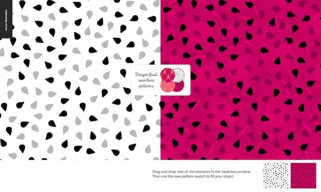 Dragonfruit or pitaya pulp seamless pattern