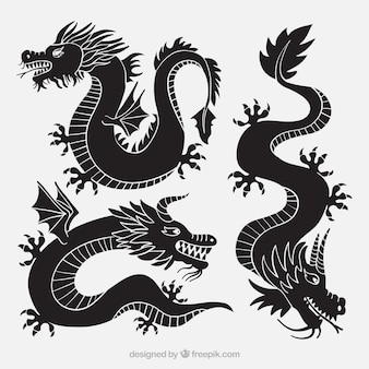 Dragons collection in black color