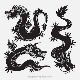 Коллекция драконов в черном цвете