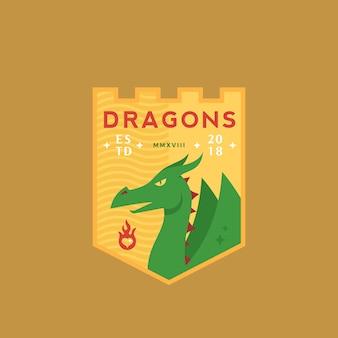 ドラゴンズメディバルスポーツチームエンブレム抽象的な記号またはシールド、神話爬虫類、レトロなタイポグラフィのロゴのテンプレート。