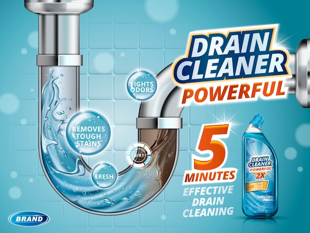 Drain cleaner ads, before and after effect in drain pipe, realistic detergent bottle isolated 3d illustration