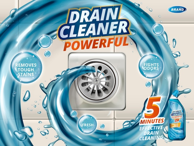 Drain cleaner ads, liquid flushing into drain, detergent bottle with effects written on bubbles isolated on floor in 3d illustration