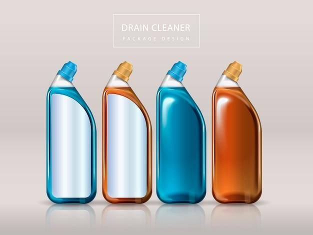 排水管クリーナーパッケージデザイン、分離されたデザイン用の4つのブランクボトル