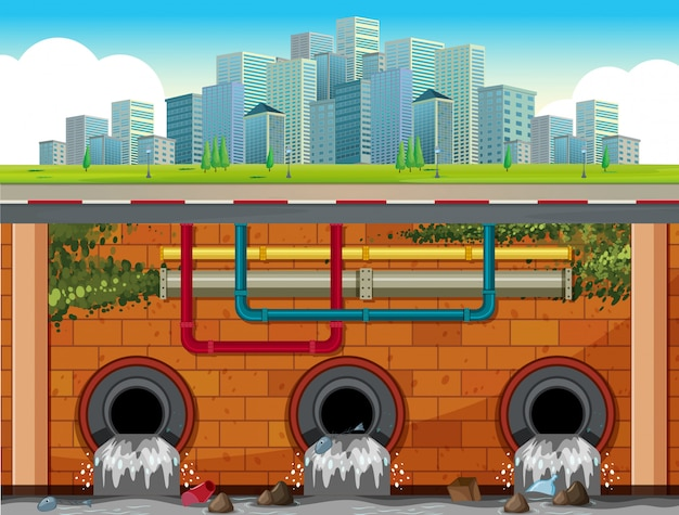 A drain system underground of big town