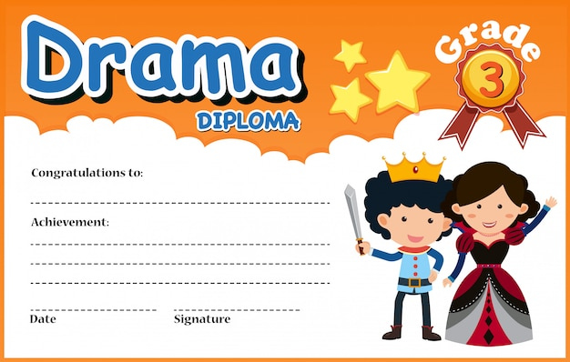 A drama diploma certificate template