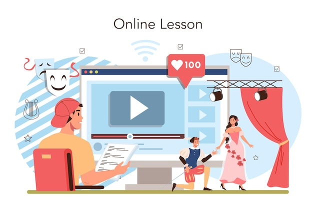 Drama school class or club online service or platform. students playing