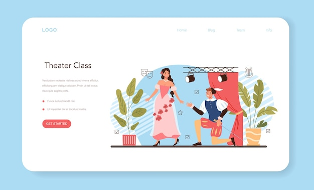 Drama school class or club web banner or landing page. students playing roles in a school play. young actors performing on stage, dramatic and cinematography art. flat vector illustration