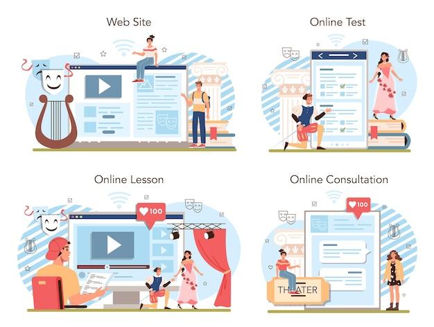 드라마 학교 수업 또는 클럽 온라인 서비스 또는 플랫폼 세트 학생