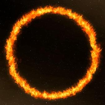 Cornice di fuoco drammatico cerchio arancione