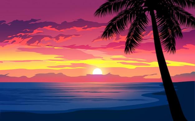 Драматический закат в тропическом пляже