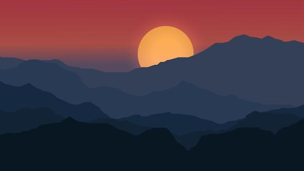 Драматическая сцена заката над горой