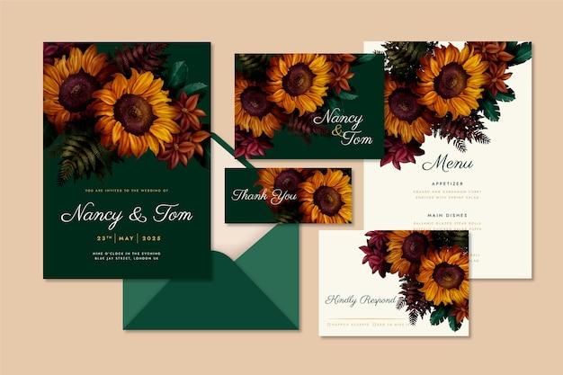 Dramatic watercolor botanical wedding stationery