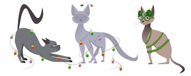 新年とクリスマスの猫のキャラクターを描く