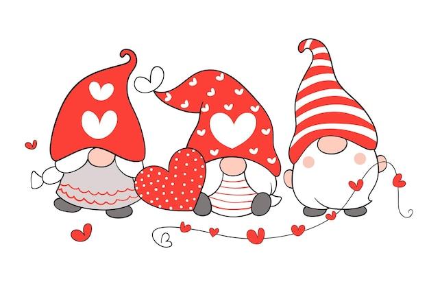 バレンタインのために小さな赤いハートで愛らしいノームを描きます。