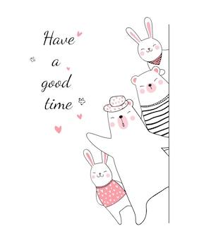 Нарисуйте животного медведя и кролика, скажите, хорошо провести время