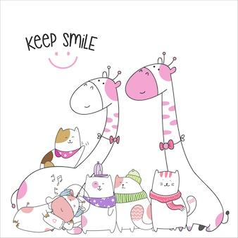 Draw animal cute cartoon