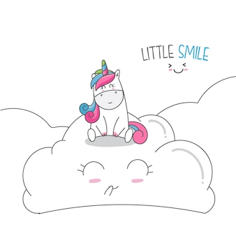 Draw animal cute unicorn cartoon