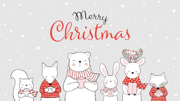 クリスマスに雪の中で動物を描く