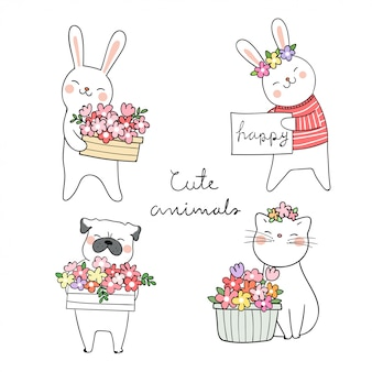 Draw animals cat pug dog and rabbit with beauty flower