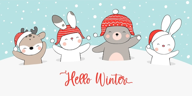 冬とクリスマスのために雪の中でバナー動物を描く