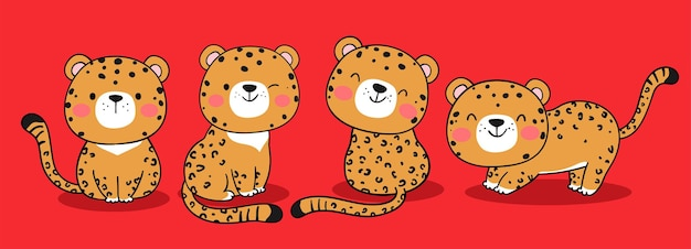 Draw banner baby jaguar tiger on red for chinese new year