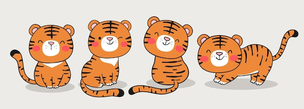 Draw banner baby tiger for chinese new year