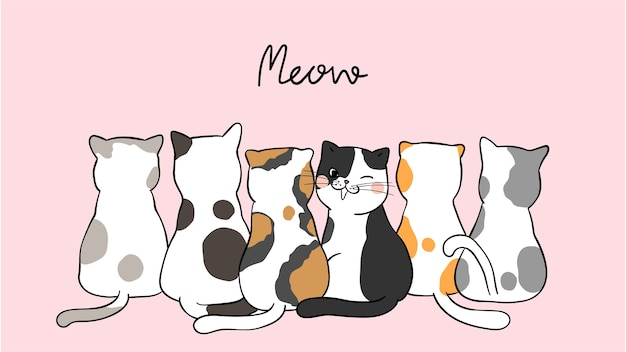 Draw banner background cute cats on pink pastel