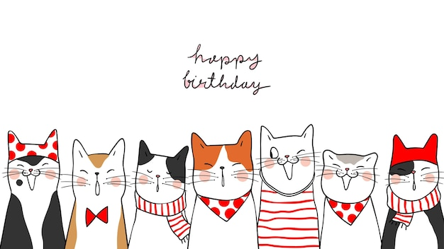 Draw banner background portrait cute cats for happy birthday