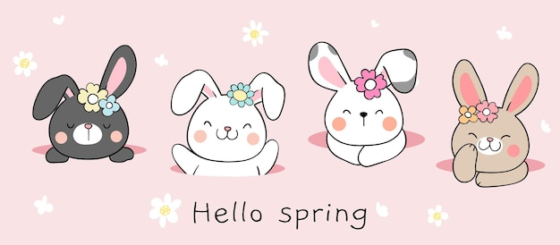 Draw banner bunny in hole for spring and easter