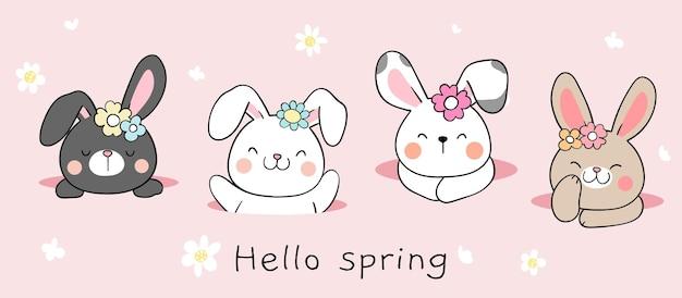 Нарисуйте баннер-кролика в норе на весну и пасху Premium векторы