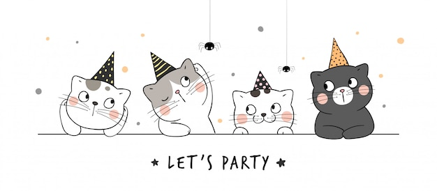 Draw banner cat with party hat.for halloween day.