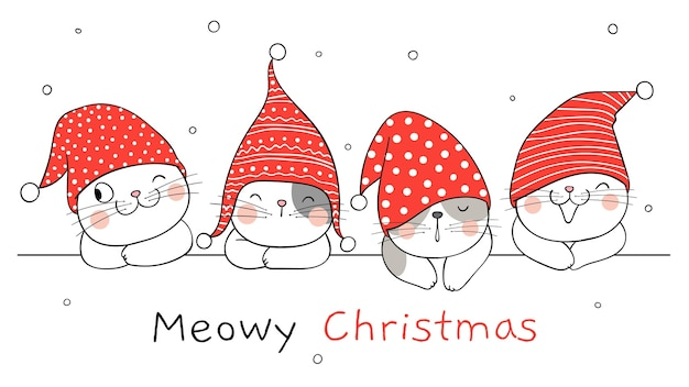 겨울 새해와 크리스마스 배너 고양이 그리기