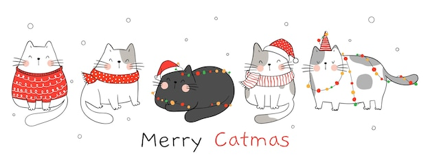 Draw banner cats with christmas light.for winter and new year.