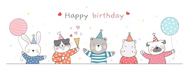 Нарисуйте баннер милый животных партии на белом на день рождения.