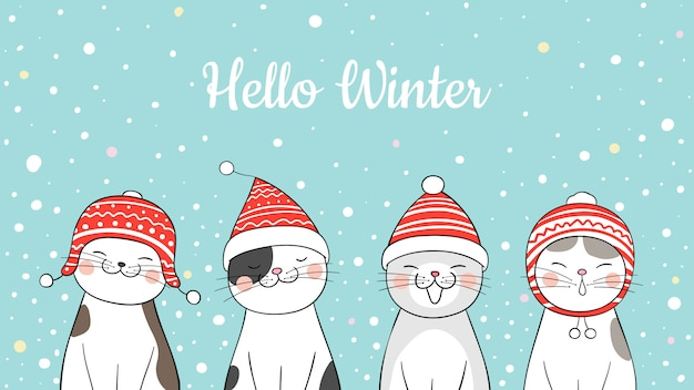 Draw banner cute cat in snow for christmas.