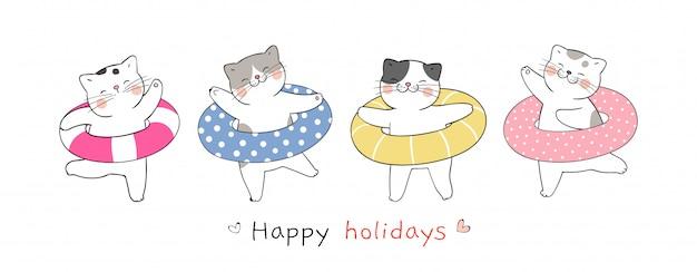 Нарисуйте баннер милый кот с разноцветным резиновым кольцом на лето.