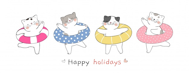 Draw banner cute cat with colorful rubber ring for summer.