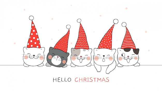 Draw banner of cute cat with elf hat for christmas.