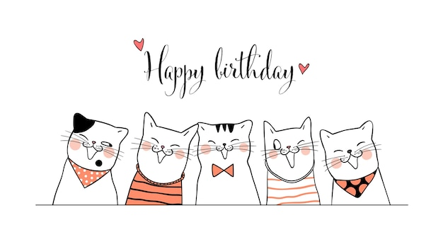 Draw banner cute cats for birthday doodle style