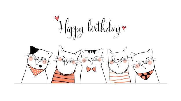 생일 낙서 스타일 배너 귀여운 고양이를 그립니다