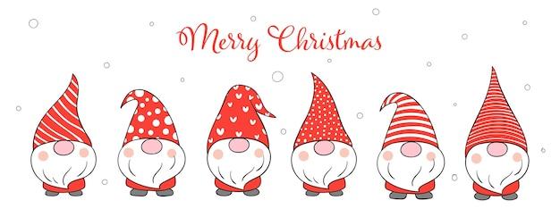 冬の新年とクリスマスのためのバナーかわいいノームを描く