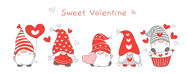 Draw banner cute gnomes for valentine day.