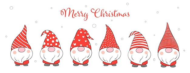 Draw banner cute gnomes for winter new year and christmas