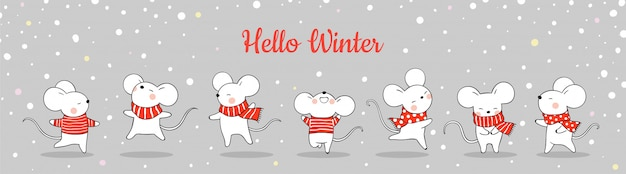 Draw banner cute rat in snow for christmas