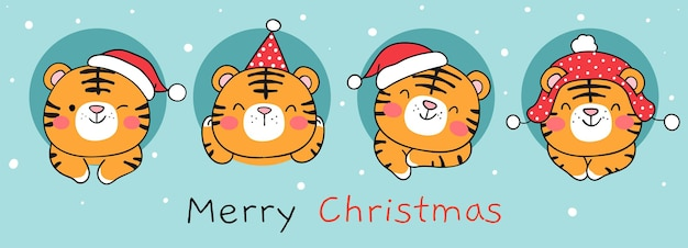 Draw banner cute tiger on blue for christmas and new year
