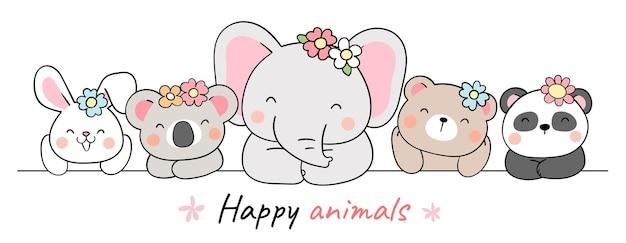 Нарисуйте дизайн баннера милое животное с цветком на весну
