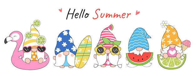 Draw banner design funny gnome  for summer